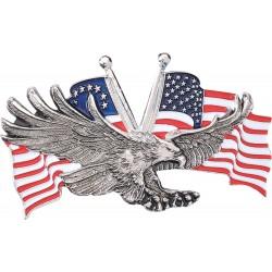 Emblemat metalowy orzeł z flagą amerykańską