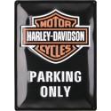 Blaszany szyld dla motocyklisty HARLEY DAVIDSON PARKING ONLY