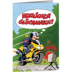Kartka na życzenia MOTOMANIA HERZLICHEN GLÜCKWUSCH dla motocyklisty