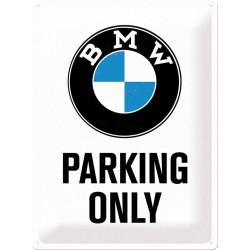 Blaszany szyld dla motocyklisty BMW PARKING ONLY mały 200x300mm