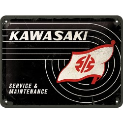 Blaszany szyld dla motocyklisty KAWASAKI, 15x20cm