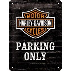 Blaszany szyld dla motocyklisty HARLEY DAVIDSON PARKING ONLY  15x20cm