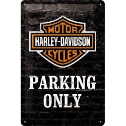 """Blaszany szyld dla motocyklisty HARLEY DAVIDSON """"Parking only"""" 30x20cm"""