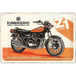 Blaszany szyld dla motocyklisty KAWASAKI 30x20cm