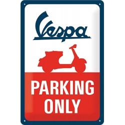 """Blaszany szyld dla motocyklisty VESPA """"Parking only"""""""