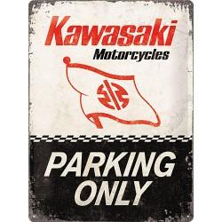 """Blaszany szyld dla motocyklisty KAWASAKI """"Parking only"""""""