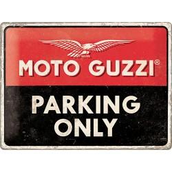 """Blaszany szyld dla motocyklisty MOTO GUZZI """"Parking only"""" 30x40cm"""