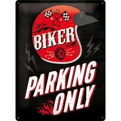 """Blaszany szyld dla motocyklisty """"Biker Parking Only"""" 30x40cm"""