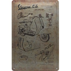 Blaszany szyld dla motocyklisty Vespa Logo Size: 20 x 30 cm