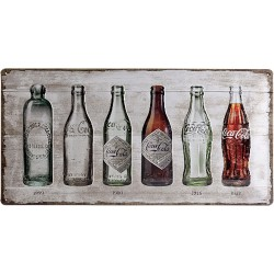 Blaszany szyld dla motocyklisty Butelka Coca-Coli Oś czasu Wymiary: 50x25 cm