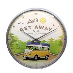 Zegar ścienny retro VW Bulli - Let's Get Away Średnica: 31cm