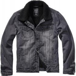 Kurtka jeansowa Brandit Sherpa czarna z kożuszkiem