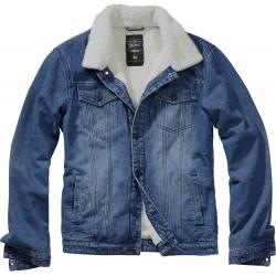 Kurtka jeansowa Brandit Sherpa niebieska z kożuszkiem