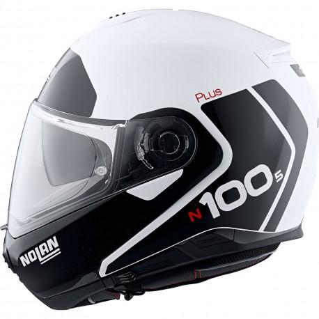 Nolan N100-5 Plus Destinctive n-com Kas typu flip -up szczękowy czarno biały