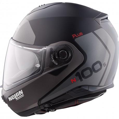 Nolan N100-5 Plus Destinctive n-com Kask typu flip-up szczękowy czarno szary