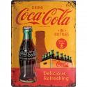 Retro SzyldEmaliowana Coca-Cola W Butelkach Żółty Wymiary: 30x40 cm
