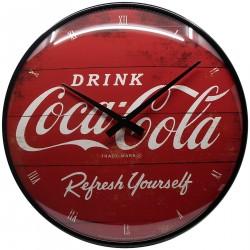 Zegar ścienny w stylu retro Coca-Cola Logo Red Odśwież się, średnica 31cm
