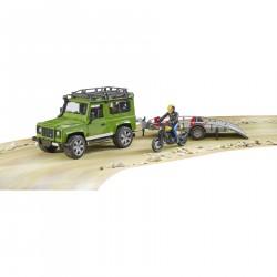 Bruder Land Rover Defender z przyczepą i Ducati Scrambler 1:16